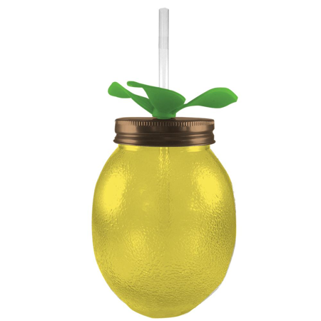 Lemon Glass Mason Jar Sipper with Straw in Yellow
