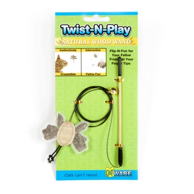Ware Twist-N-Play 10932 Wood Natural Wand Cat Toy
