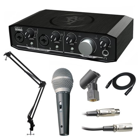 Mackie Onyx Producer USB Audio Interface with Knox Studio Stand and Mic