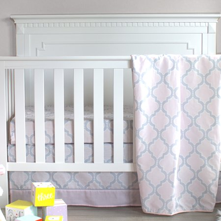 Pam Grace Creations Pretty in Pink Trellis 3 Piece Crib Bedding Set (Pink And Yellow Crib Set)