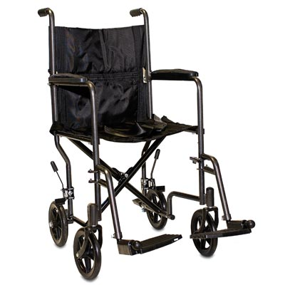 """ProBasics Lightweight Steel Transport Wheelchair, Fixed Full Arms, 19"""" Seat"""