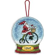 "Love Snowglobe Counted Cross Stitch Kit, 3, 3/4"" x 4-1/2"", 14-count Clear Plastic"