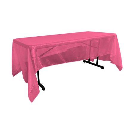 LA Linen TCOrgz60x144-FuchsiaO49 Sheer Mirror Organza Square Tablecloth, Fuchsia - 60 x 144 in. - image 1 de 1