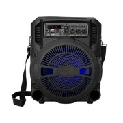 Pyle PSBT62A - 8'' Portable PA Speaker & Microphone System - High-Powered PA Loudspeaker with MP3/Micro SD Card Reader/USB/FM Radio & LED Lights (600 Watt MAX)