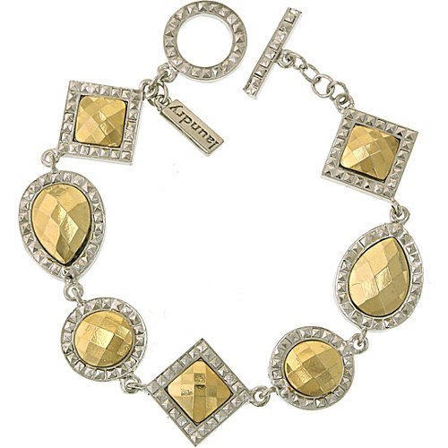 Laundry by Shelli Segal Silver Tone Gold Stone Multi Stone Toggle Bracelet