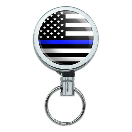 Thin Blue Line American Flag Heavy Duty Metal Retractable Reel ID Badge Key Card Tag Holder with Belt (Line Badge)