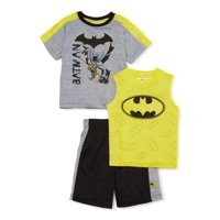 Batman Toddler Boys T-Shirt, Tank Top & Mesh Shorts, 3-Piece Active Outfit Set