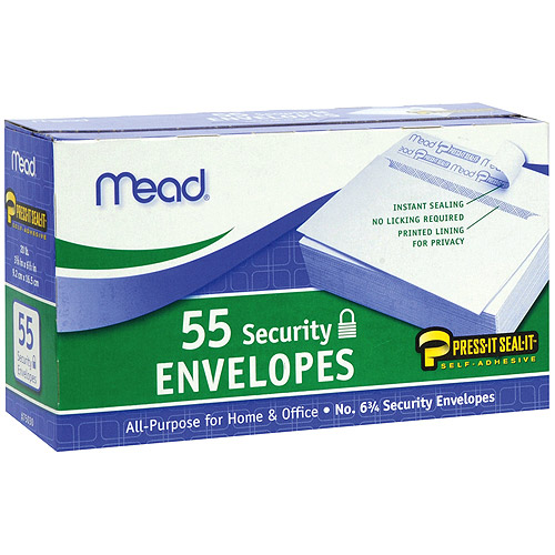 "Boxed Peel and Stick Envelopes, 3.625"" x 6.5"", 55pk, Security, #6"