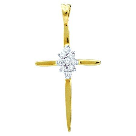 14kt Yellow Gold Womens Round Diamond Cross Faith Pendant 1/12 Cttw ()