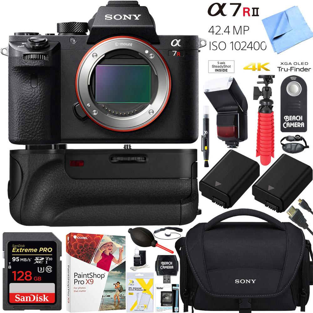 Sony a7R II 42.4MP Full-frame Mirrorless Camera Body + 64GB Battery Grip Super Bundle