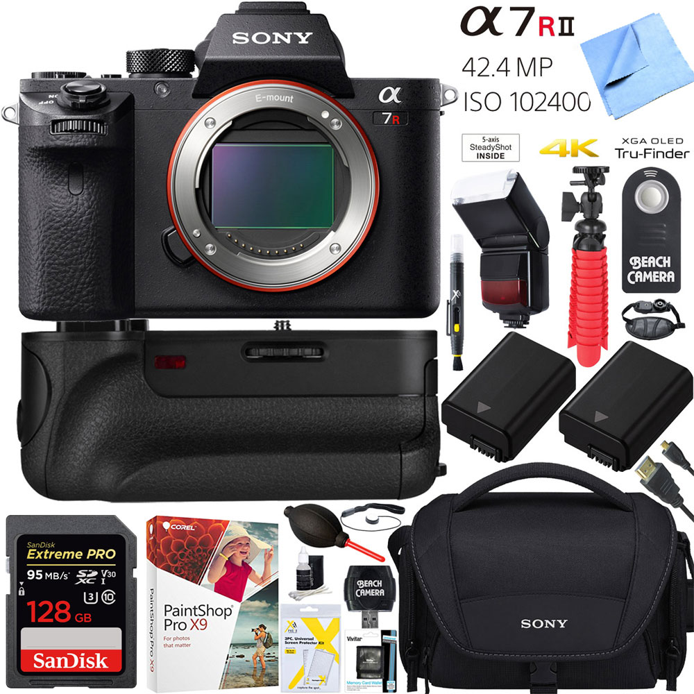 Sony a7R II 42.4MP Full-frame Mirrorless Interchangeable Lens Alpha a7RII Camera 64GB Battery Grip Dual Battery Pro Video Bundle
