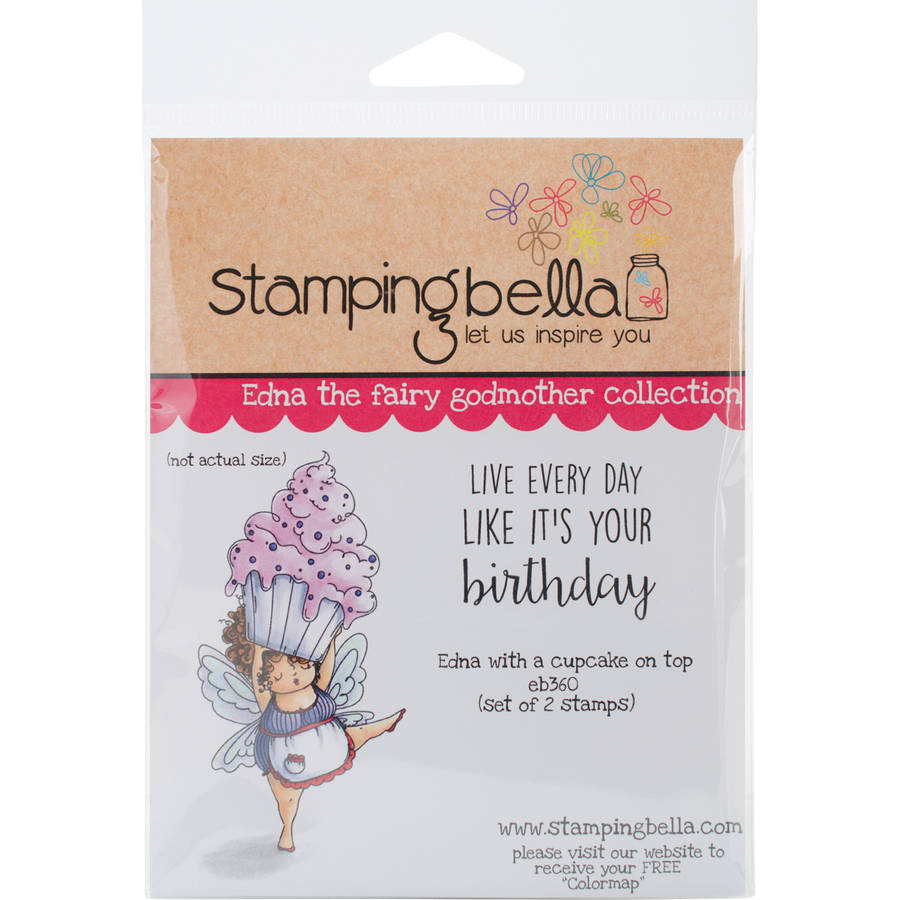 """Stamping Bella Cling Stamp, 6.5"""" x 4.5"""", Edna With A Cupcake On Top"""