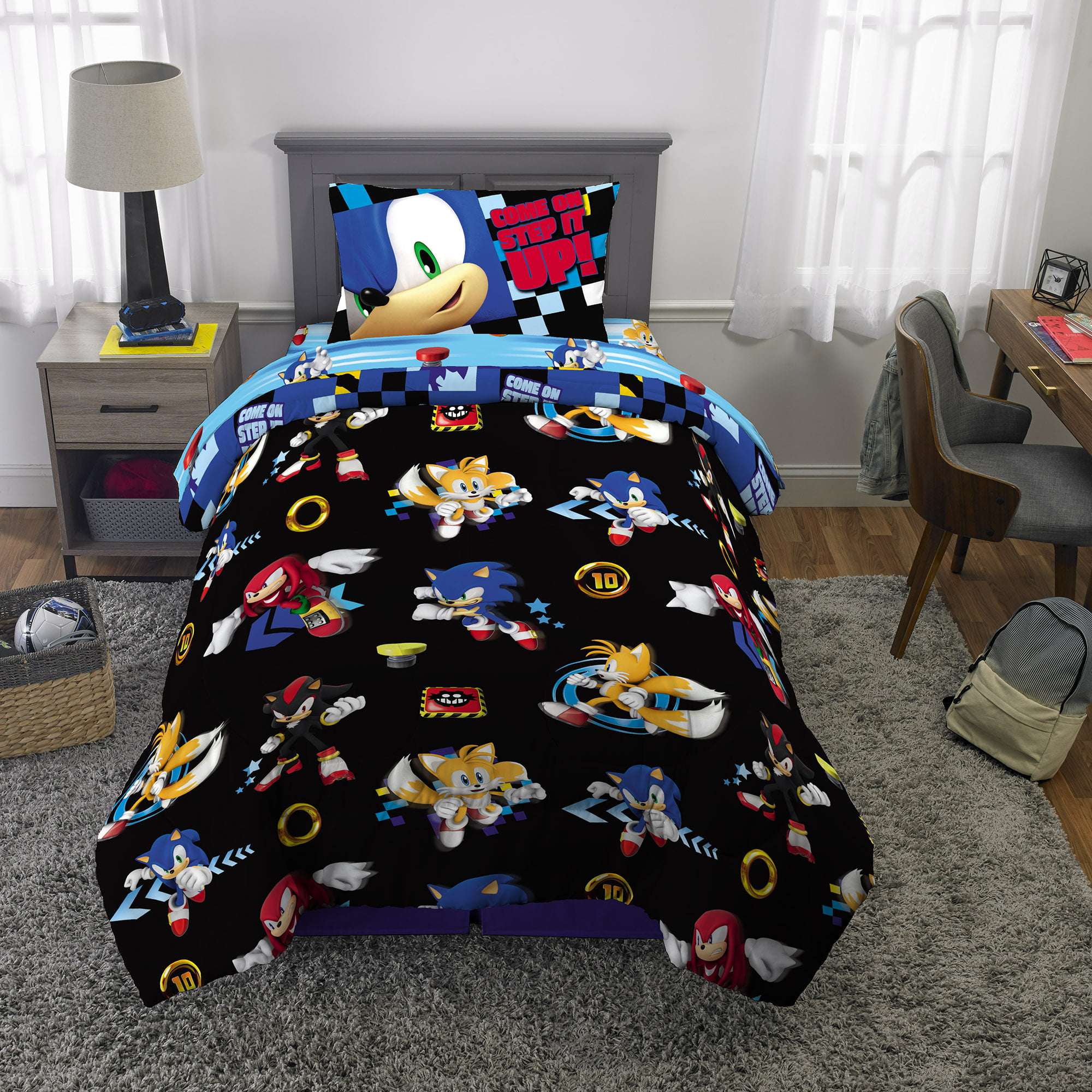 Sonic The Hedgehog Kids Microfiber Bed In A Bag Bedding Bundle Set Comforter And Sheets Black Walmart Com Walmart Com