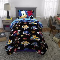 Sonic the Hedgehog Bed in a Bag, Kids Bedding Bundle Set, Microfiber, Black and Blue, 4-Piece TWIN