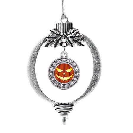 Grinning Pumpkin Circle Holiday Ornament