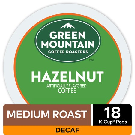 - Green Mountain Coffee Hazelnut Decaf, Flavored Keurig K-Cup Pod, Light Roast, 18 Ct