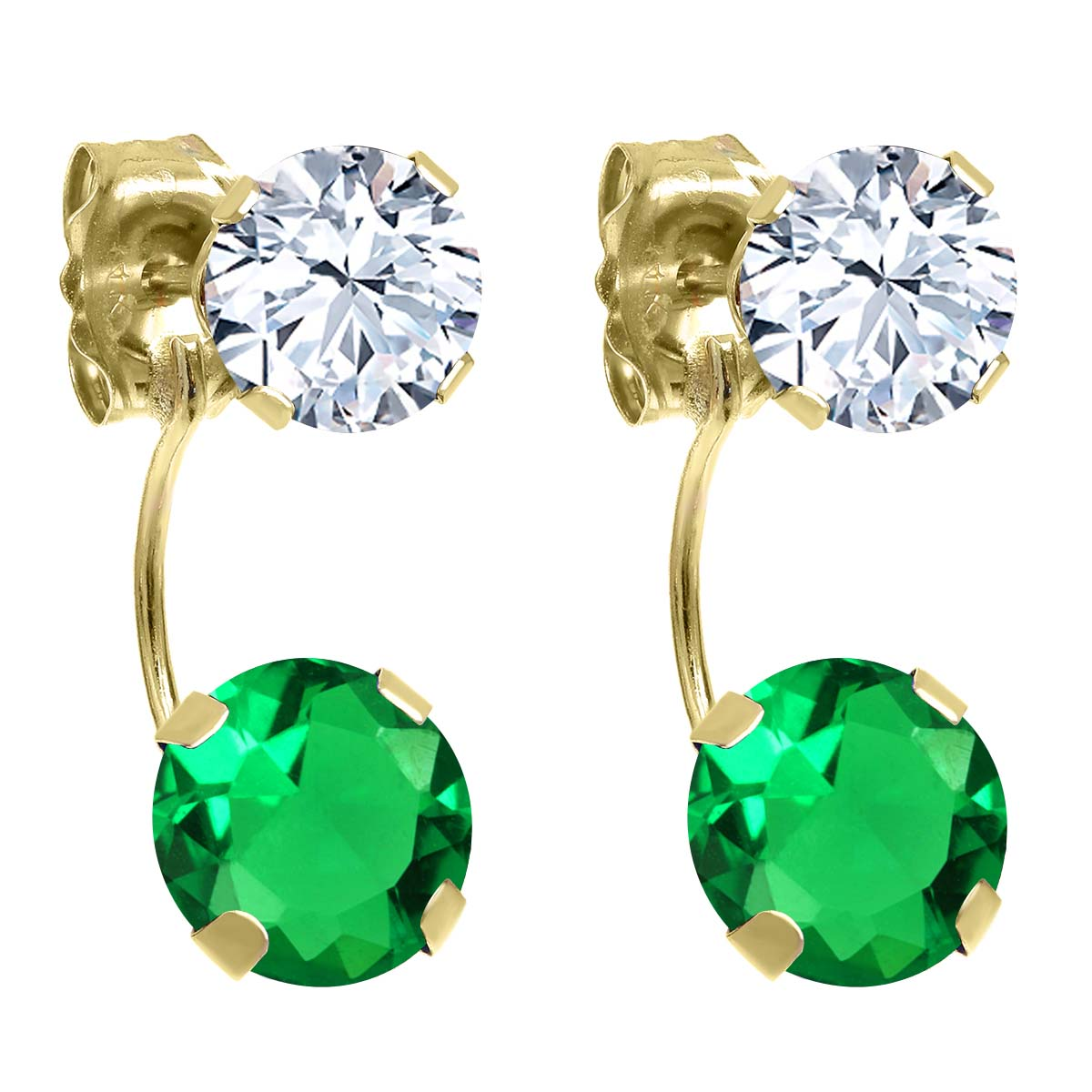 3.04 Ct Round Green Simulated Emerald 14K Yellow Gold Earrings
