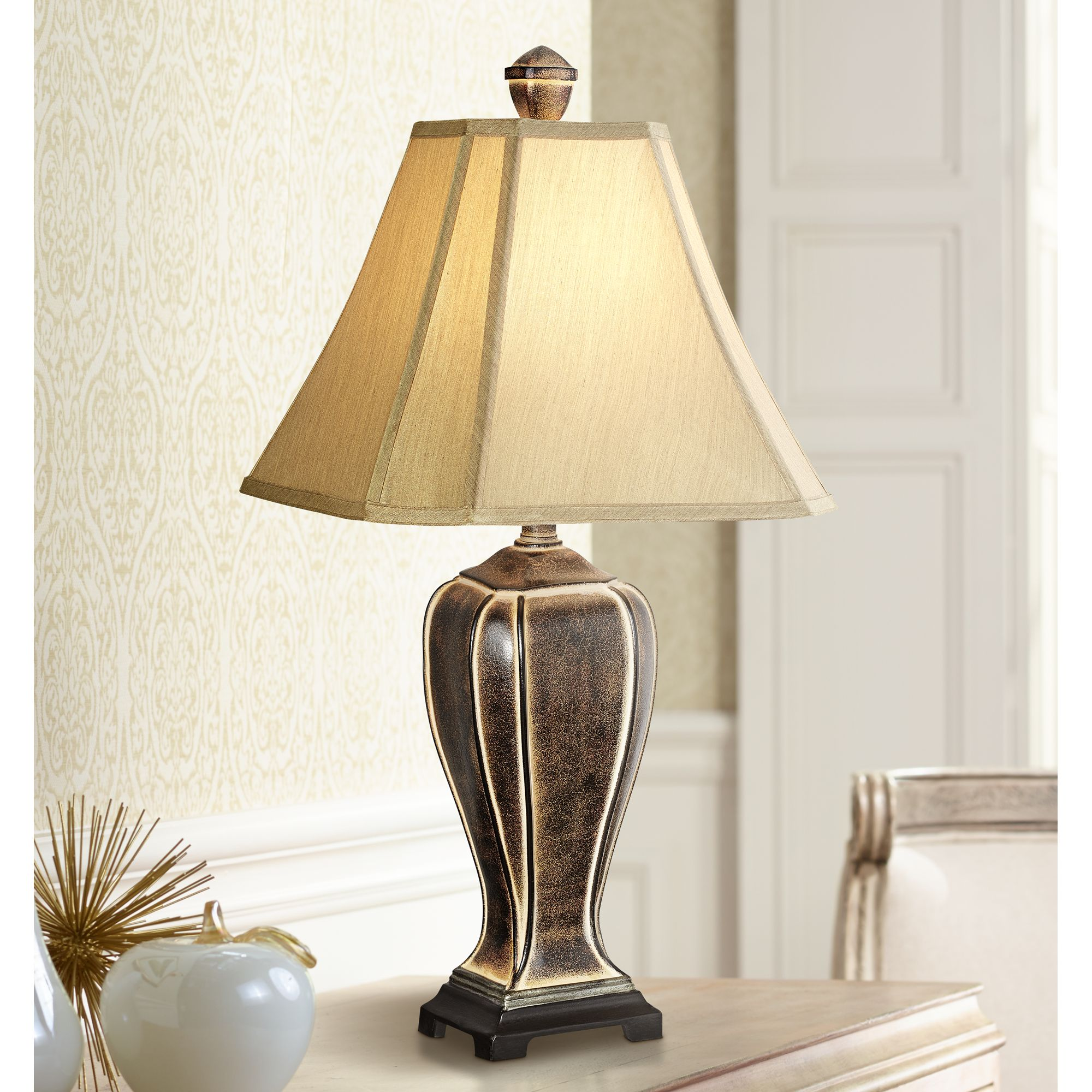 Regency Hill Traditional Table Lamp Desert Crackle Gold Jar Taupe Faux Silk Bell Shade for Living Room Family Bedroom Bedside