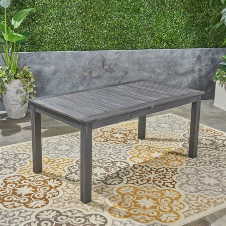 Outdoor Expandable Wood Dining Table in Dark Gray and Natural