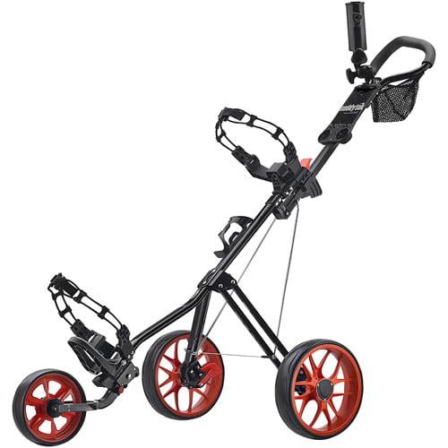 CaddyTek CaddyLite 11.5 V2 SuperLite Deluxe Golf Push Cart, Black/Orange