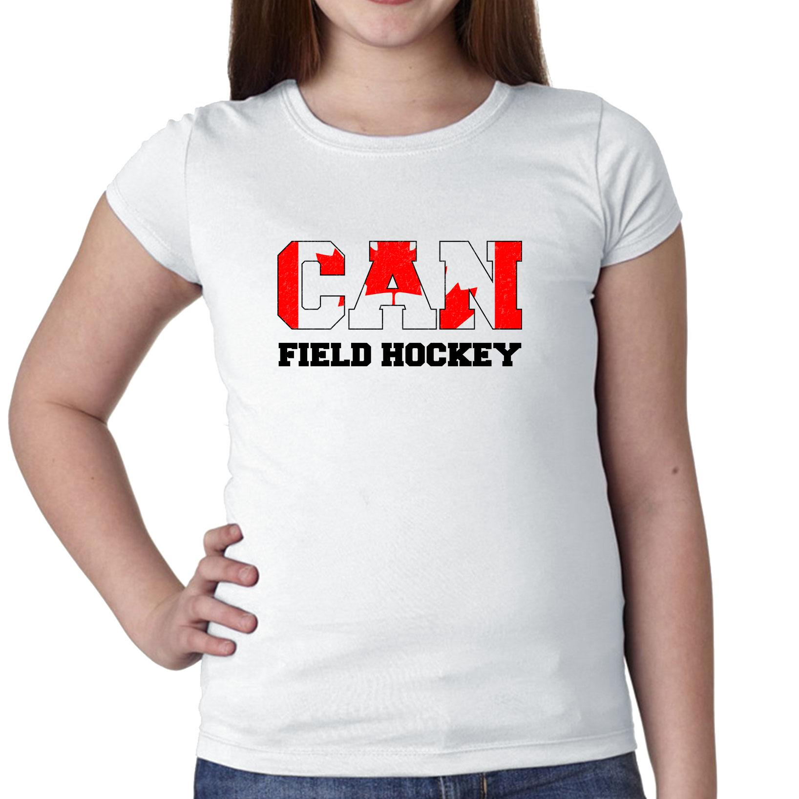 Canada Field Hockey Olympic Games Rio Flag Girl's Cotton Youth T-Shirt by Hollywood Thread