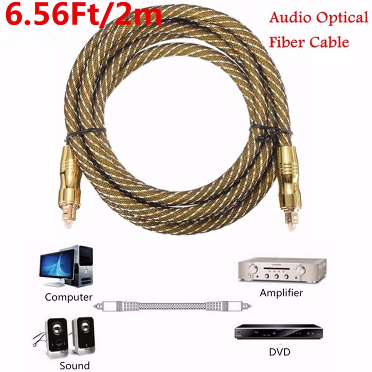 6.5ft Premium Toslink Fiber Optic Digital Audio Optical Cable S/PDIF Cord Wire Multi-Media Cord Wire