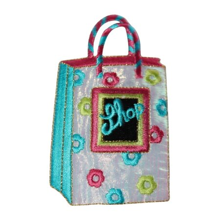 ID 8507 Shiny Mall Shop Bag Patch Store Gift Sack Embroidered Iron On Applique