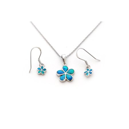 Solid Sterling Silver Rhodium Plated Blue Inlay Simulated Opal Hawaiian Flower Necklace Earrings Set