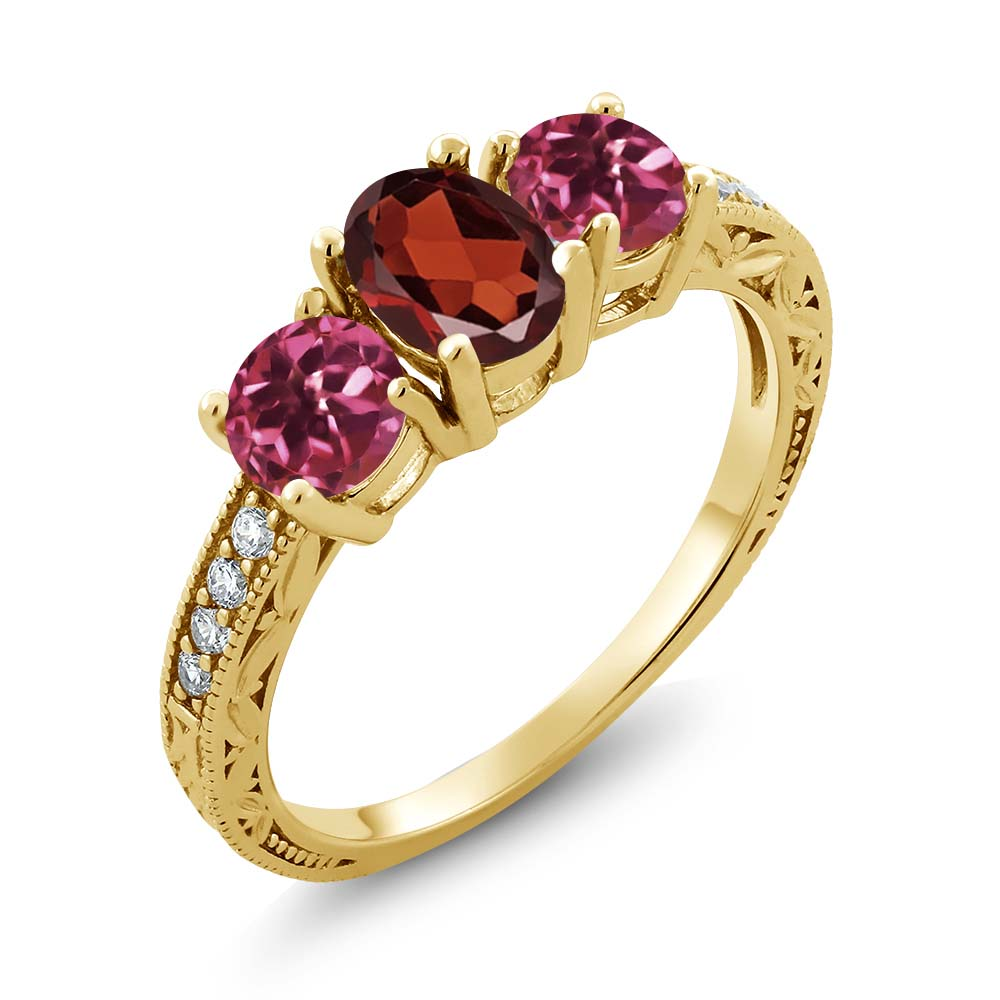 2.02 Ct Oval Red Garnet Pink Tourmaline 14K Yellow Gold Ring by