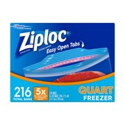 Ziploc Double Zipper Quart Freezer Bags, 216 Ct