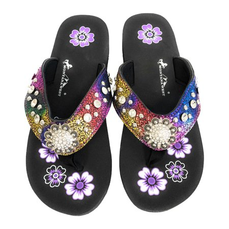Montana West Flip Flops Sandal Crackle Texture Crystals Floral Concho Rainbow