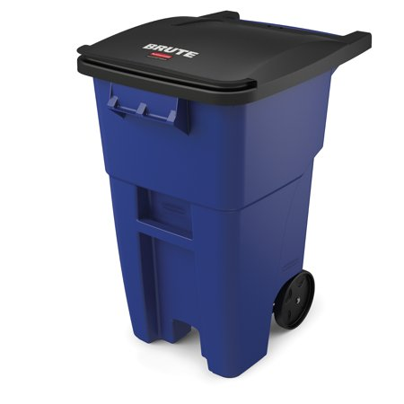 Rubbermaid Commercial Products BRUTE Roll-Out Recycle Bin with Lid, 50 Gallon, Blue
