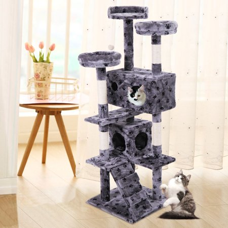 "Jaxpety 60"" Pet Cat Tree Kitty Play House Tower Condo Bed Scratch Post Toy Ball, Gray Paw"