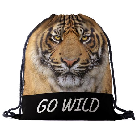 Unisex Printed Drawstring Bag Novelty backpack for Sports Animal Rucksack - image 3 de 4