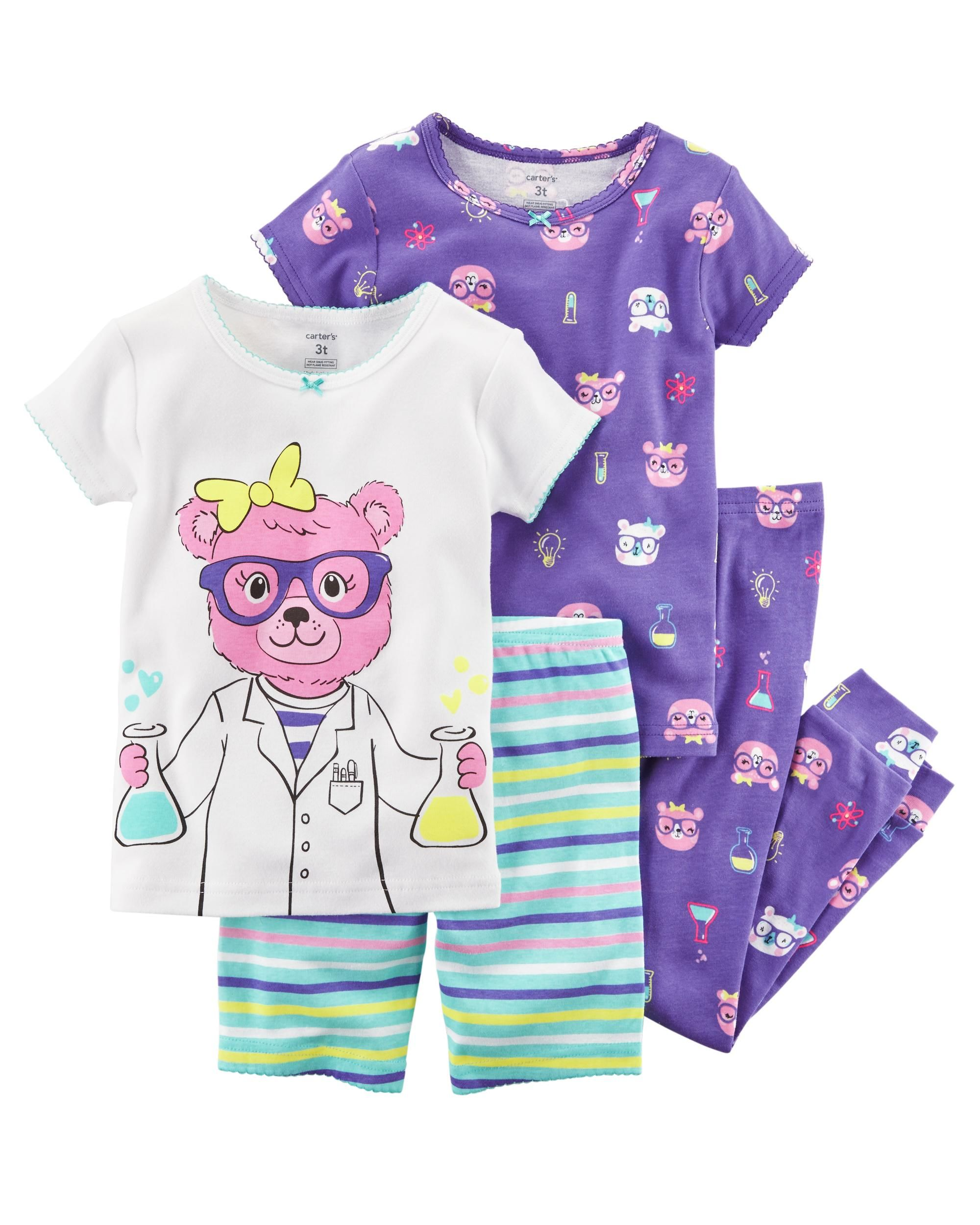 4-Piece Set Size 4T Purple Toddler Girl Cotton Tight Fit Pajamas