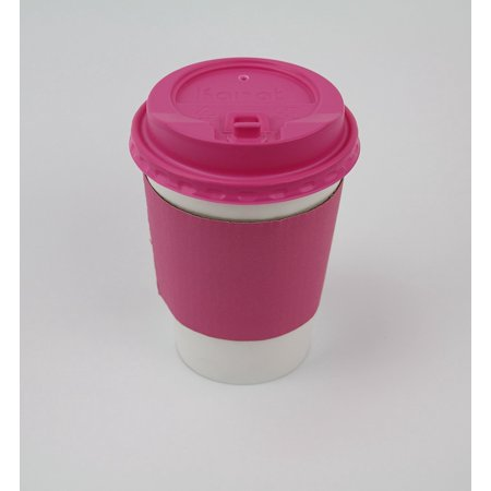 50 Sets Coffee Cups 12 oz Disposable With Pink Lids & Pink Sleeves Hot Coffee Cups With Lids & Sleeve Holders Pink Egg Cup Set