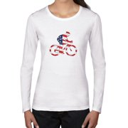 Cyclist with USA Flag Background - American Pride Women's Long Sleeve T-Shirt