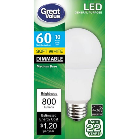 Great Value LED Light Bulb, 10W (60W Equivalent) A19 Lamp E26 Medium Base, Dimmable, Soft White 10w Led Medium Base