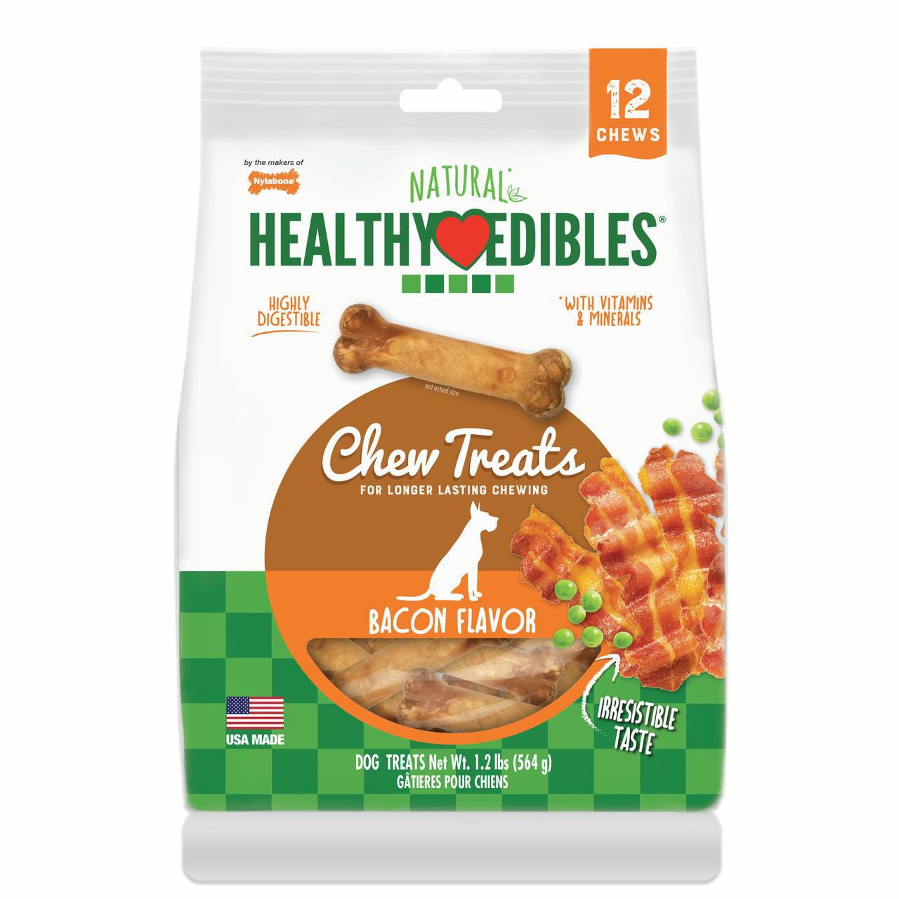 Nylabone Healthy Edibles Natural Bacon Flavored Dog Treats, Medium, 12 Count