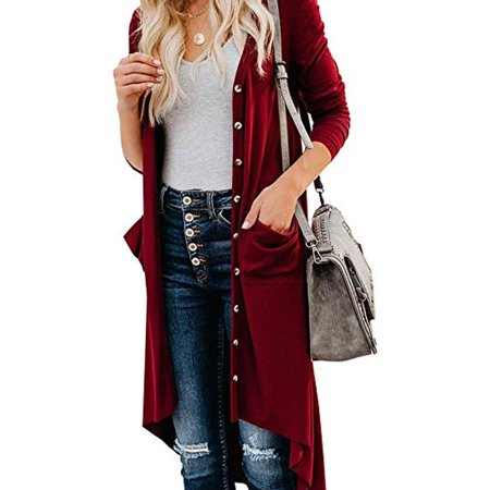 Lookwoild Women Long Cardigan Loose Sweater Knitted Outwear Jacket Coat Tops