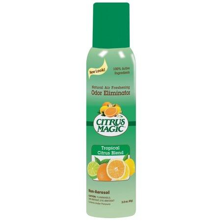 Citrus Magic Natural Odor Eliminating Air Freshener Spray, Tropical Citrus Blend, Pack of 3, 3 Ounces (Spray 0.5 Ounce Refill)