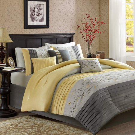 Madison Park Serene Cal King Size Bed Comforter Set Bed in A Bag - Yellow, Embroidered â?? 7 Pieces Bedding Sets â?? Faux Silk Bedroom Comforters California