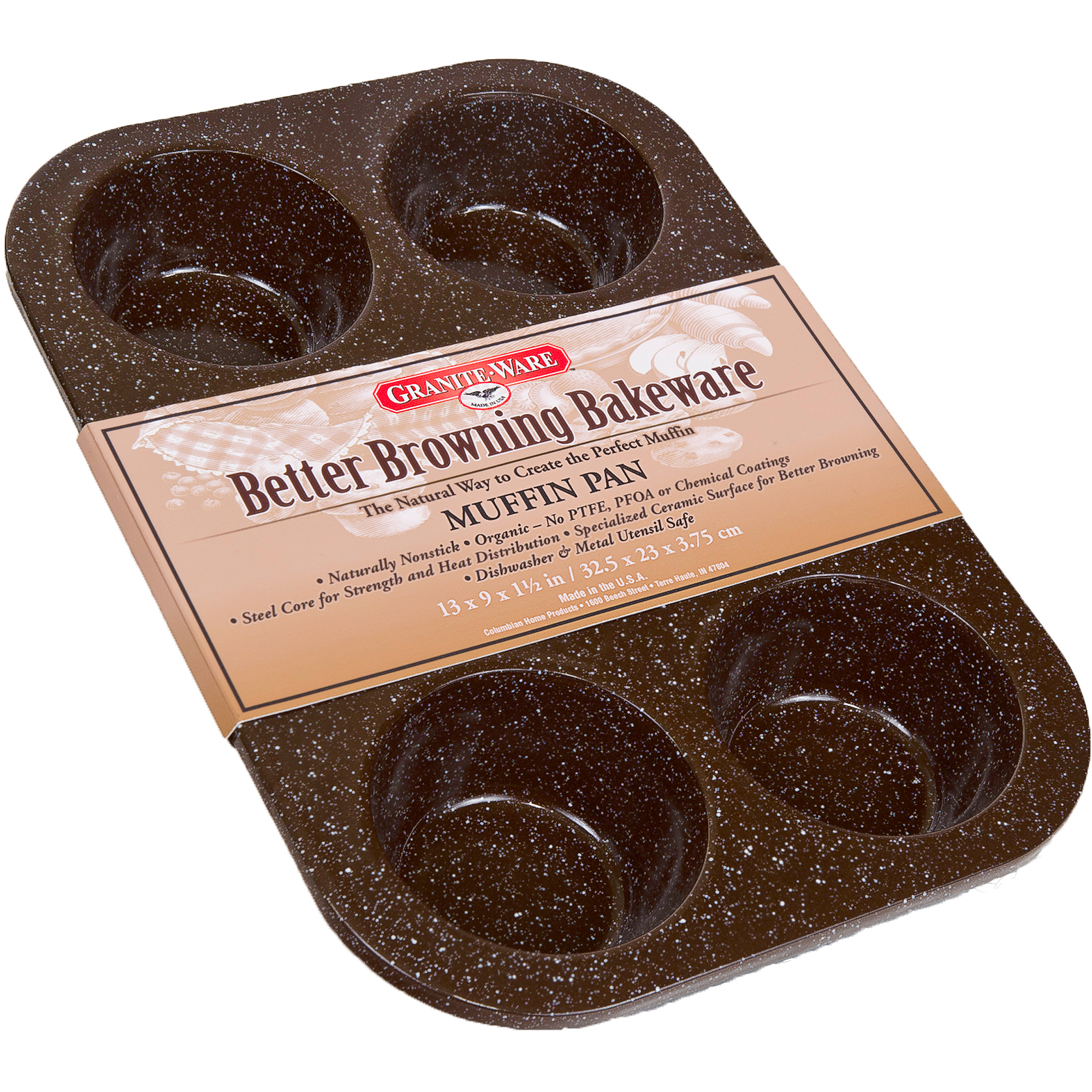 Granite Ware Better Browning Bakeware Muffin Pan, Brown