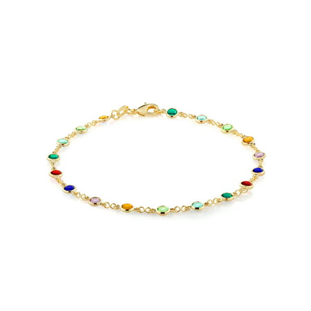 Gold Plated Brass Crystal - 10 Inch Multi-Color Crystal & Gold Plated Brass Anklet Bracelet