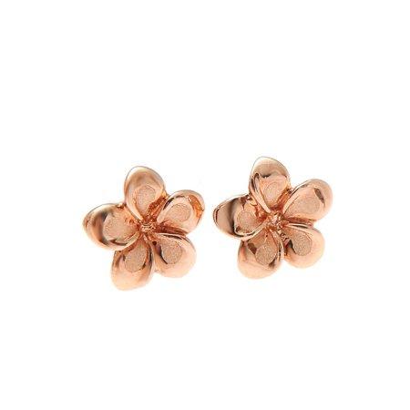 14K solid pink rose gold Hawaiian 7mm plumeria flower stud earrings ()