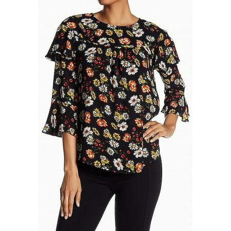 e71e78a6be477 Pleione NEW Black Womens Size XS Floral Print Flutter-Sleeve Blouse -  Walmart.com