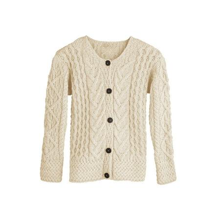 Button Down Striped Sweater (Women's Button Down Sweater - Aileen Aran)