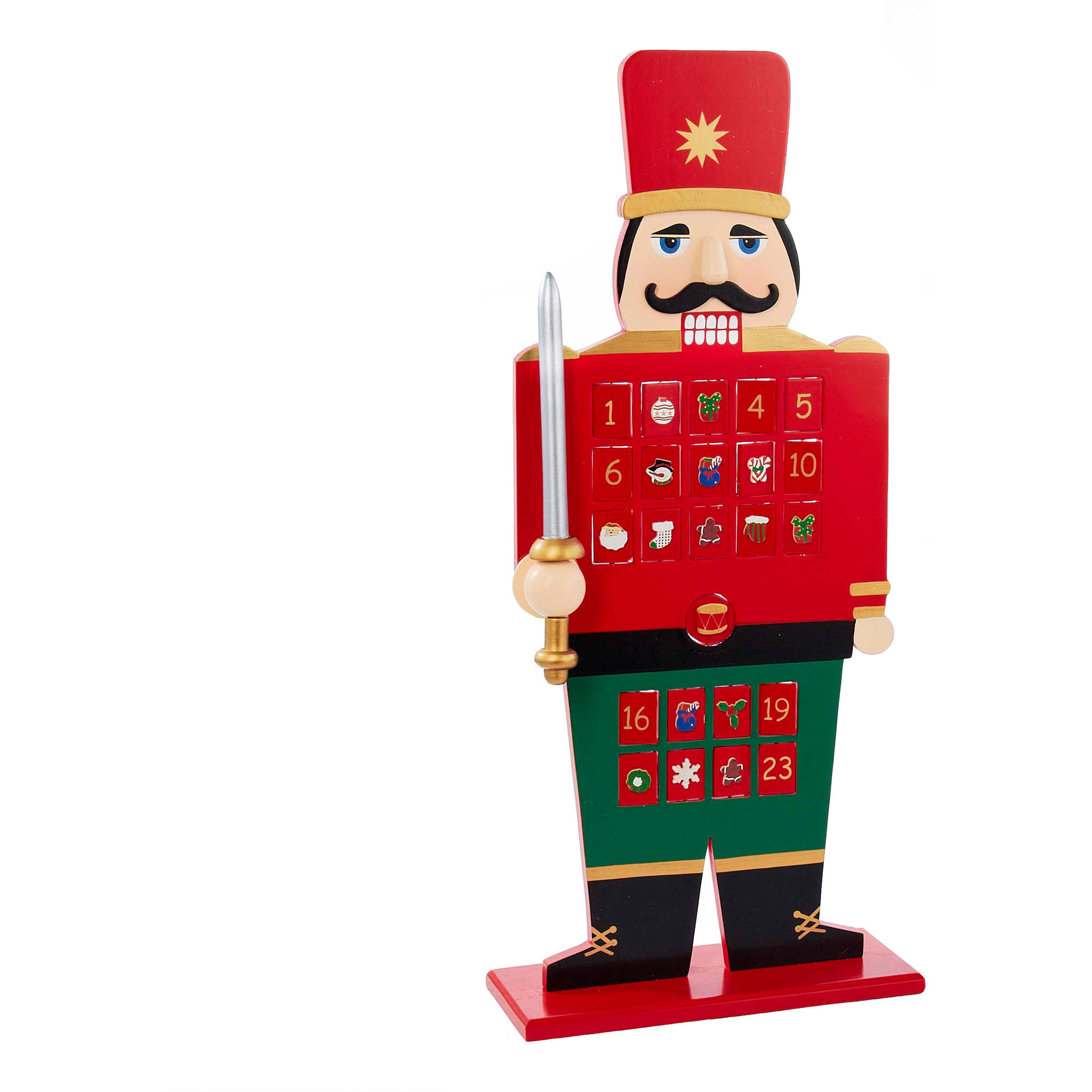 "Kurt Adler 22"" Wooden Advent Calendar Nutcracker"