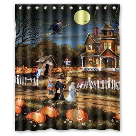 GreenDecor Halloween Wizard Pumpkin Ghost Waterproof Shower Curtain Set with Hooks Bathroom Accessories Size 60x72 inches](Halloween Shower Curtain Set)