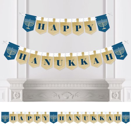 Happy Hanukkah - Chanukah Bunting Banner - Menorah Party Decorations (Hanukkah Supplies)
